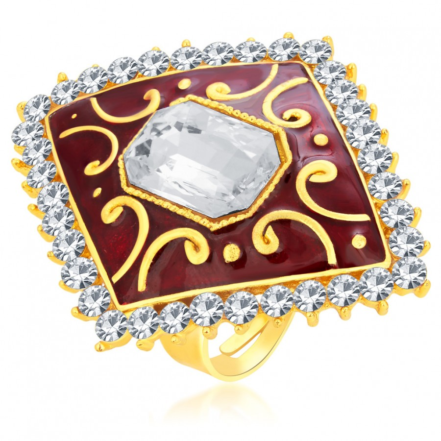 Buy Sukkhi Fashionable Designer Traditional Cocktail Gold Plated American Diamond Finger Ring For Women Online
