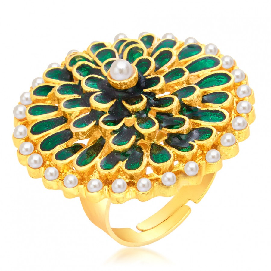 Buy Sukkhi Gleaming Designer Traditional Cocktail Gold Plated Finger Ring For Women Online