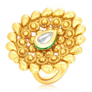 Buy Sukkhi Ravishing Designer Traditional Cocktail Gold Plated Kundan Finger Ring For Women Online