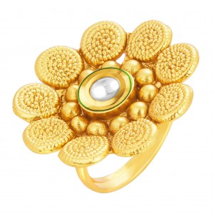 Buy Sukkhi Beguiling Designer Traditional Cocktail Jalebi Gold Plated Kundan Finger Ring For Women Online