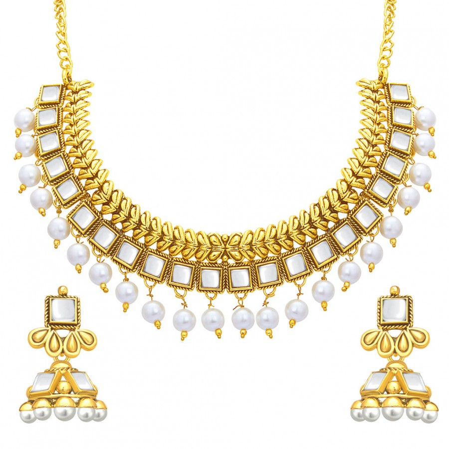 Get Sukkhi Classic Gold Plated Kundan Necklace Set For Women at best