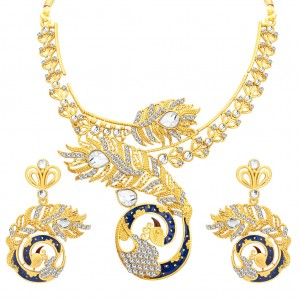 Buy Sukkhi Attractive Peacock Gold Plated AD Necklace Set For Women Online