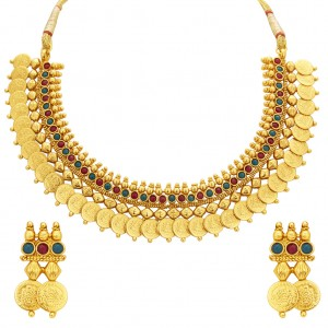 Buy Sukkhi Exquitely Laxmi Temple Coin Gold Plated Necklace Set For Women Online