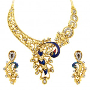 Buy Sukkhi Appealing Peacock Gold Plated AD Necklace Set For Women Online