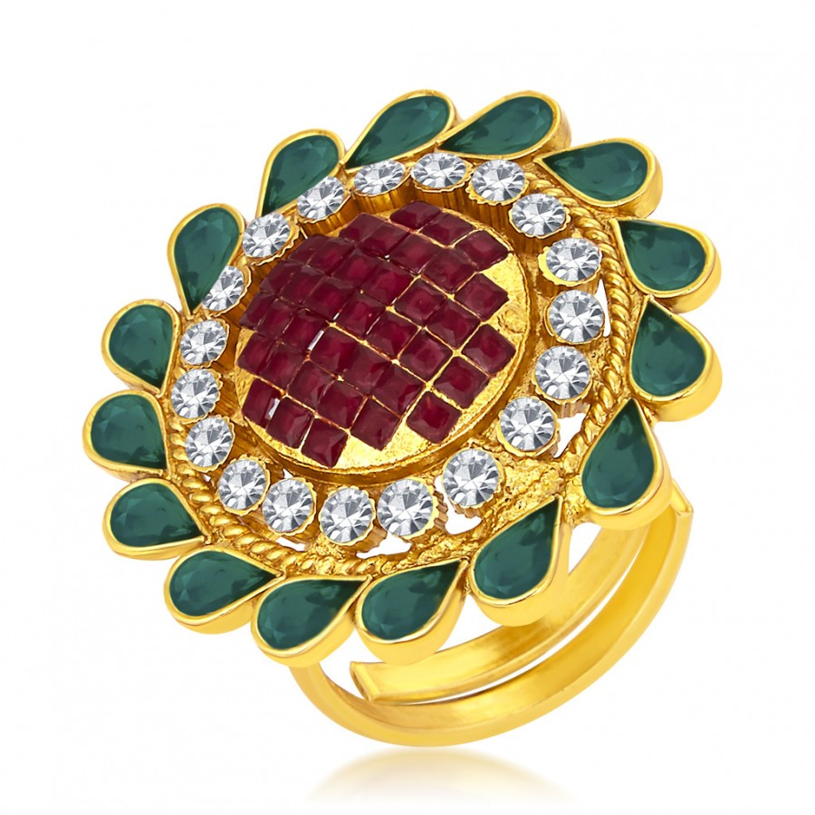 Buy Sukkhi Splendid Invisible Setting Designer Traditional Cocktail Gold Plated American Diamond Ring For Women Online