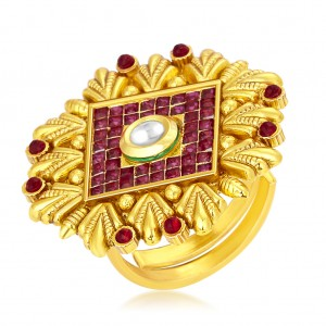 Buy Sukkhi Eye-Catchy Invisible Setting Designer Traditional Cocktail Gold Plated American Diamond Ring For Women Online