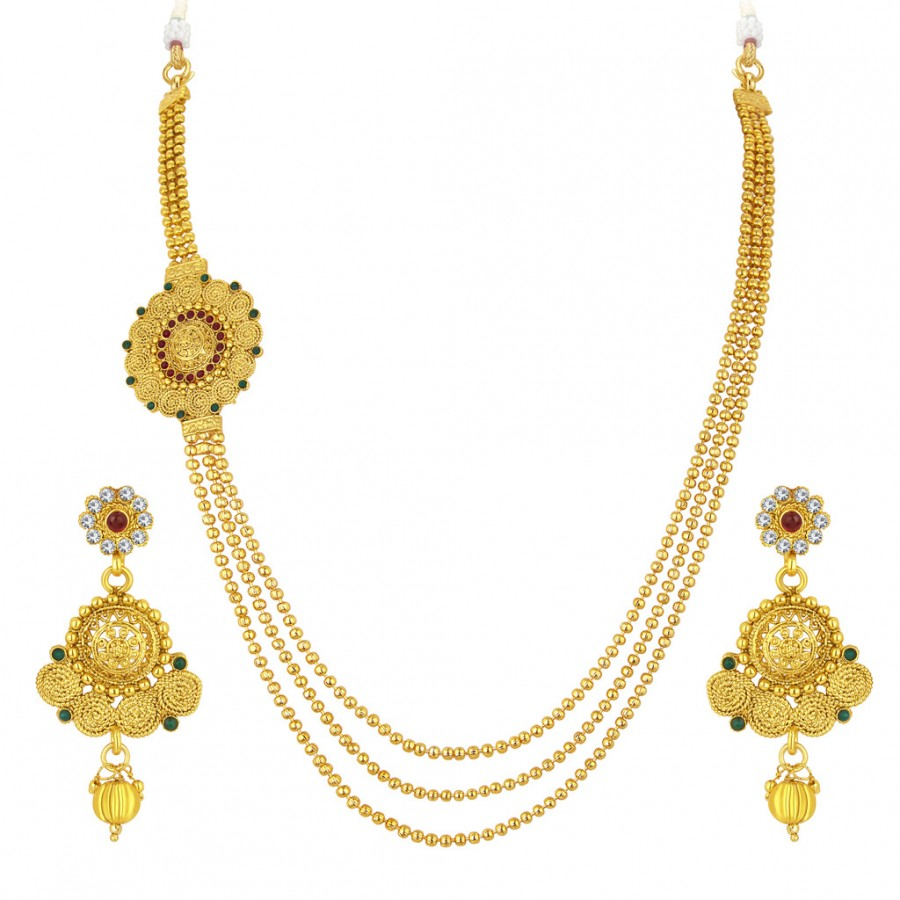 014ee3c87 Buy Sukkhi Fancy Three String Jalebi Gold Plated Necklace Set For Women  Online