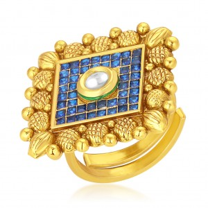 Buy Sukkhi Elegant Invisible Setting Designer Traditional Cocktail Gold Plated American Diamond Ring For Women Online