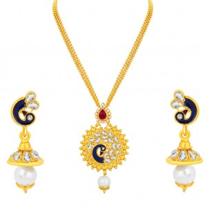 Buy Sukkhi Charming Peacock Gold Plated Kundan Pendant Set For Women Online