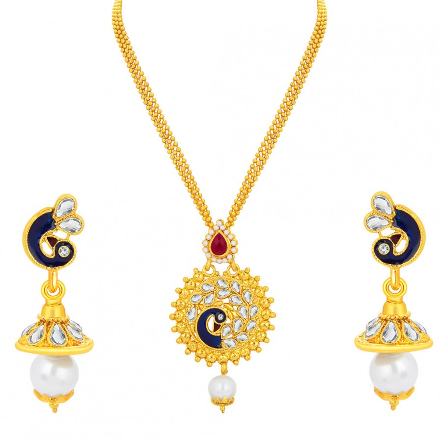 Bridal & Wedding Party Jewelry Ethnic Goldplated Designer Necklace Charm Chain Pendant Traditional Jewellery