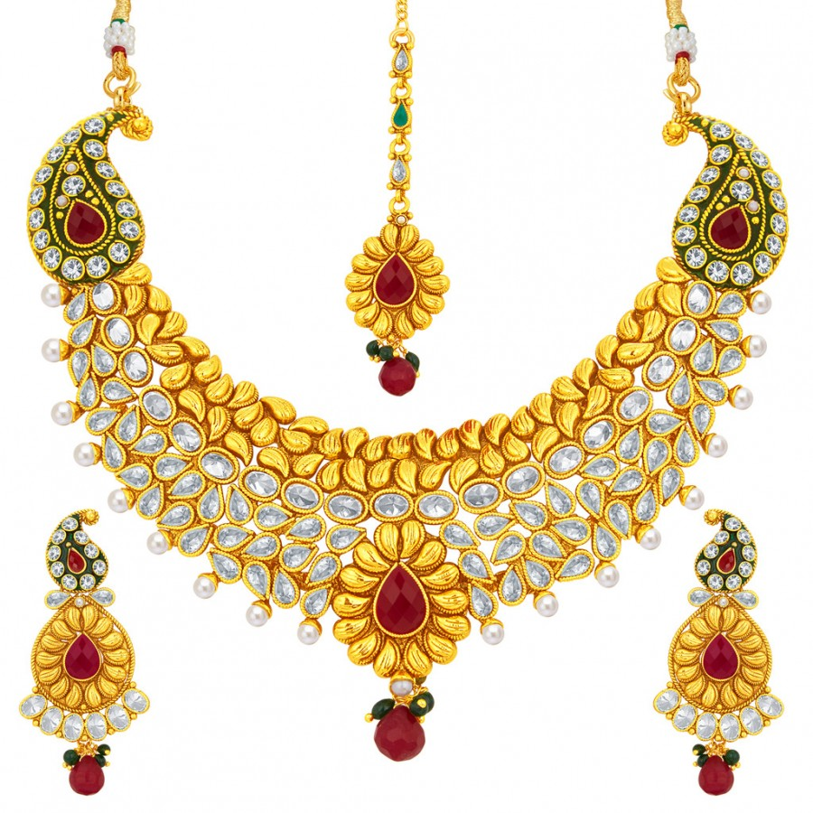 075e1eaeb Buy Sukkhi Classic Gold Plated American Diamond Necklace Set For Women  Online