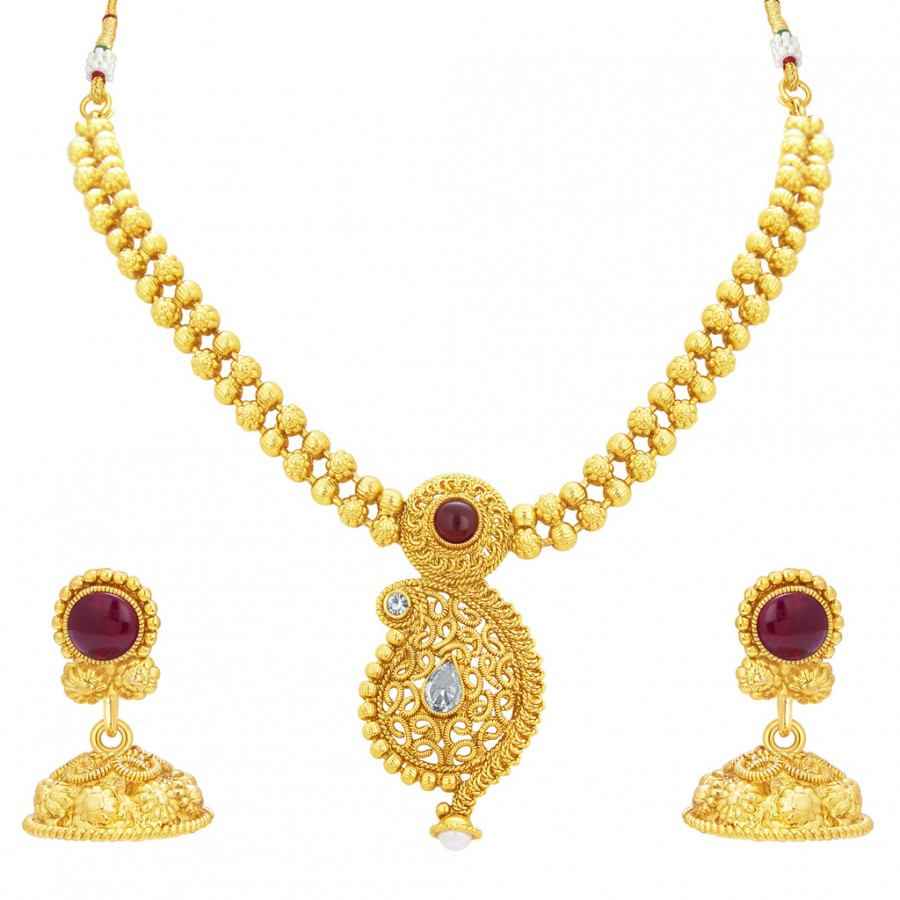 Buy Sukkhi Pleasing Kairi Design Gold Plated Necklace Set For Women Online b27ee968772