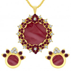 Buy Sukkhi Alluring Gold Plated AD Pendant Set For Women Online