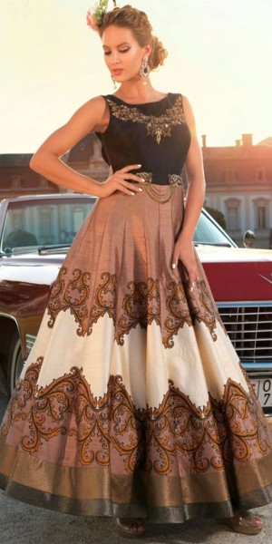 Buy Lastest Brown Satin Silk Embroidered Gown. Online