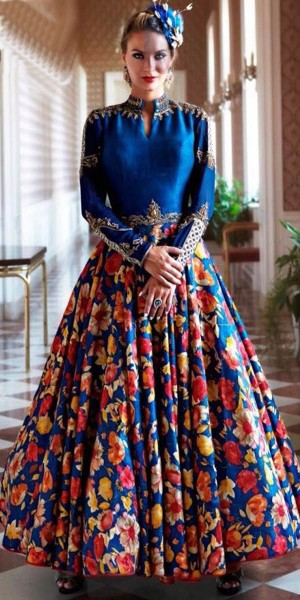 Buy Angelic Navy Blue Satin Silk Embroidered Gown. Online