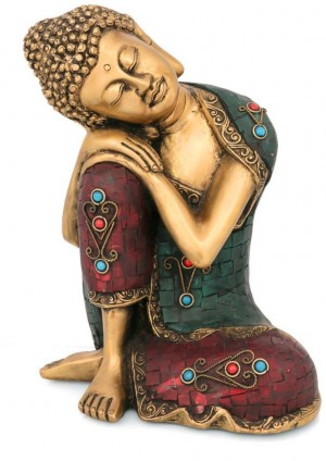 Buy Collectible India Big Relaxing Brass Buddha Statue - Turquoise Inlay Handwork - Antique Finish Large Idol Showpiece - 23.75 cm Online