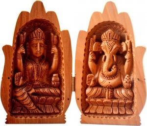 Buy  Collectible India Wooden Lakshmi Ganesh Statue Lucky Palm Idol Showpiece  15 cm Online