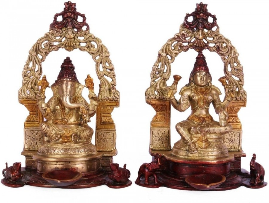 Buy Collectible India Sitting Lakshmi Ganesh Idol God Figurine Home Decor Gift Showpiece 21 Cm Online