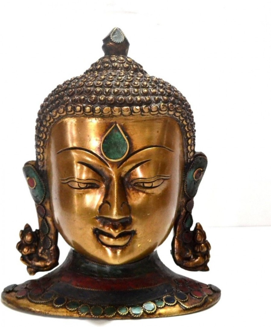 Purchase Collectible India 8 Antique Finish Tibetan Buddha Bust Head Sculture Wall Decor Art With Gemstone Work Showpiece 19 2 Cm 520477