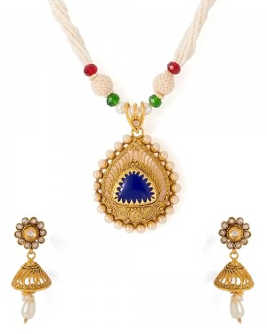 Buy  DROP SHAPED TRADITIONAL NECKLACE SET Online