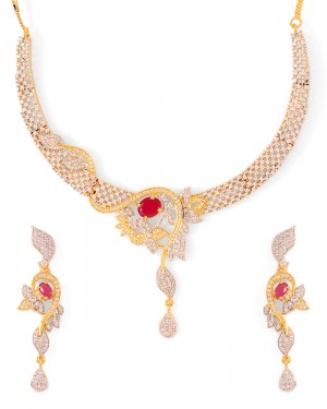 Buy  ALLURING GOLD TONE NECKLACE SET Online