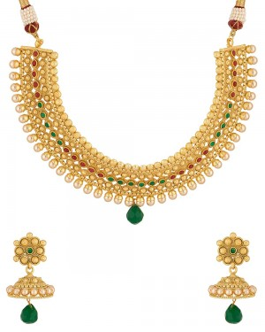 Buy  GARCEFUL RED STONE NECKLACE SET Online