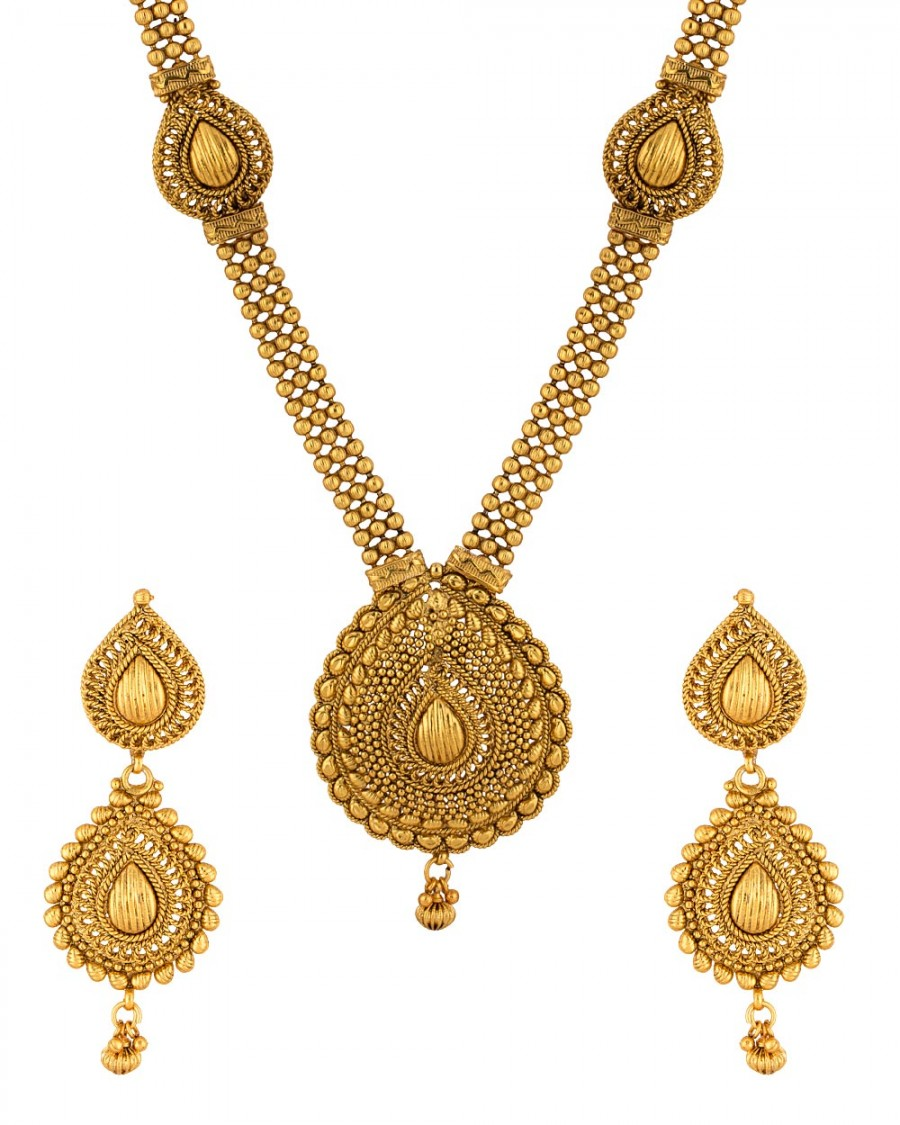 Buy  GOLDEN TRADITIONAL LONG NECKLACE SET Online