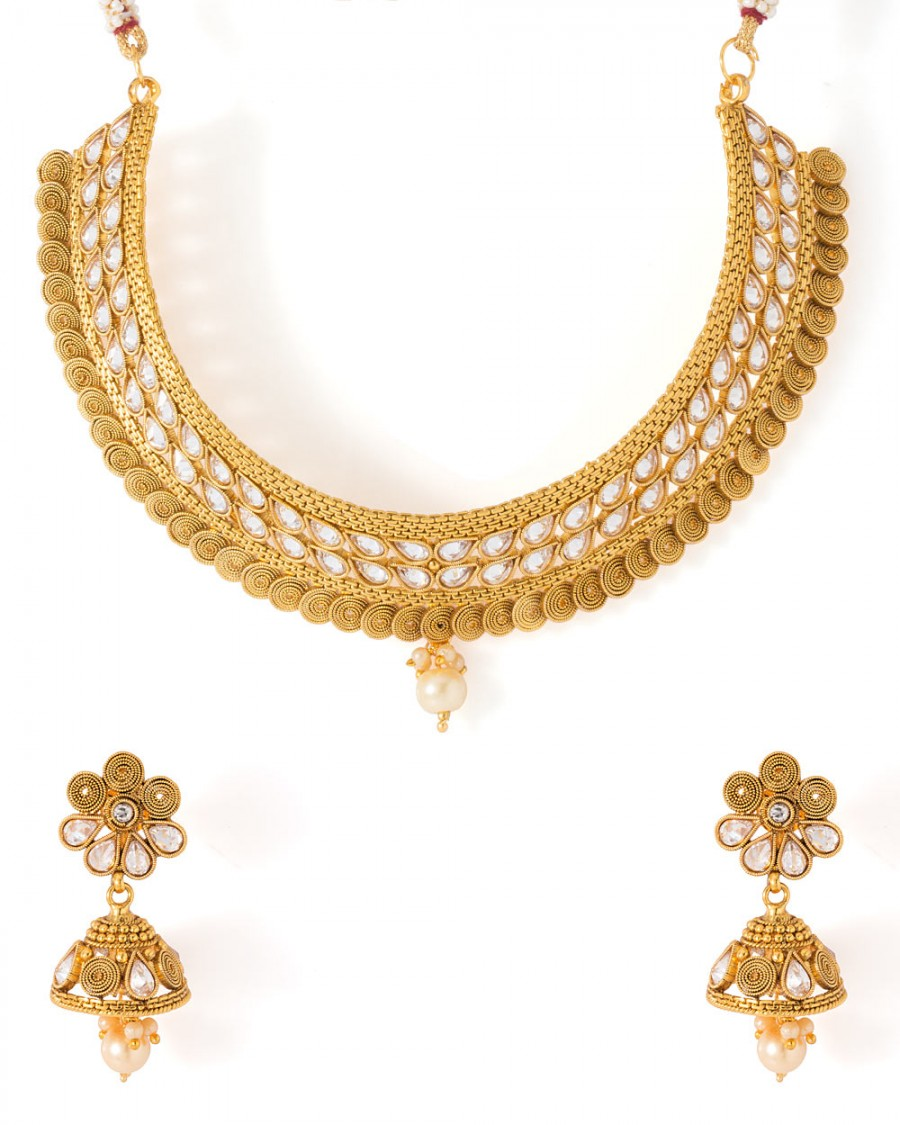 Buy  KUNDAN ADORNED TRADITIONAL NECKLACE SET Online