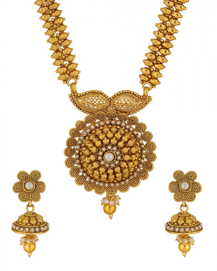 Buy  DESIGNER YELLOW GOLD PLATED LONG NECKLACE SET Online