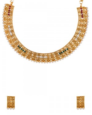 Buy  GOLD TONE NECKLACE SET WITH CZ AND PEARLS Online