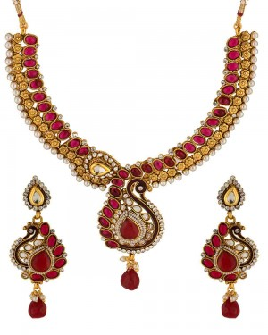 Buy  RED STONE DECKED PEACOCK INSPIRED NECKLACE SET Online