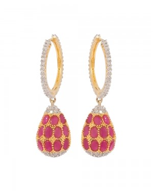 Buy GOLD TONE HOOP EARRINGS EMBELLISHED WITH GLEAMING PINK AND CZ STONES Online