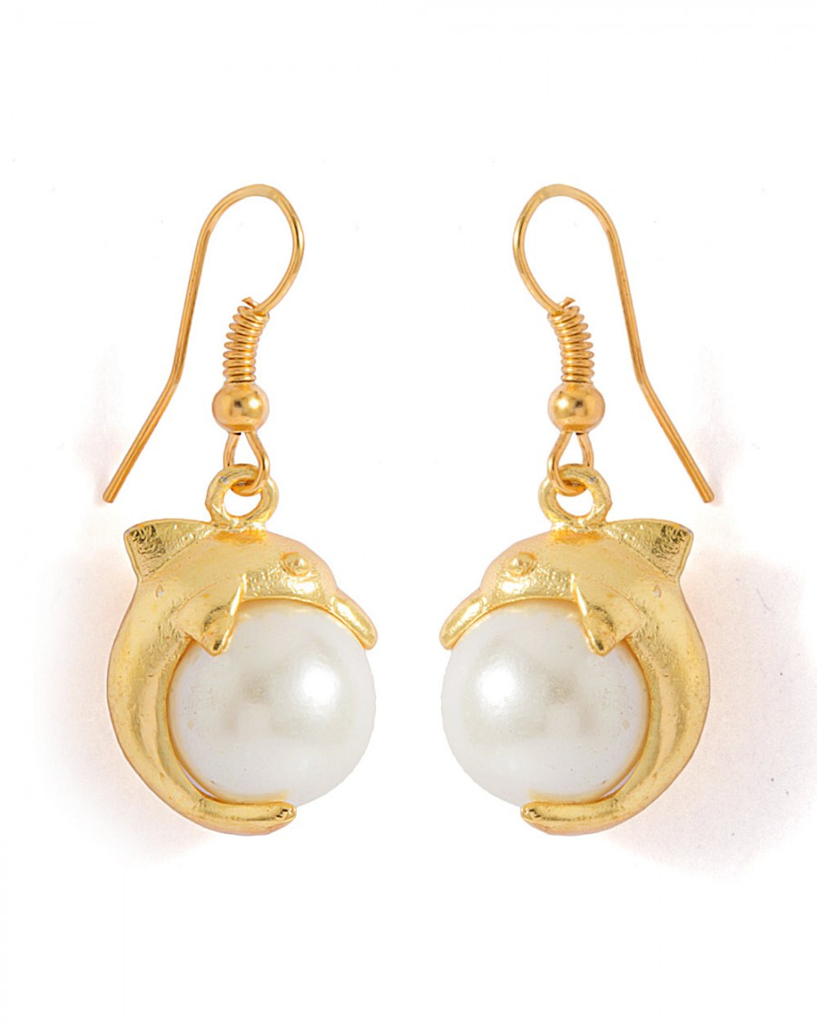Buy  PAIR OF DANGLER EARRINGS WITH DOLPHIN MOTIF AND PEARLS Online