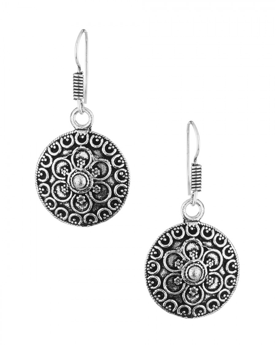 Buy  STUNNING OXIDIZED SILVER TONE ROUND FLORAL DANGLERS  Online