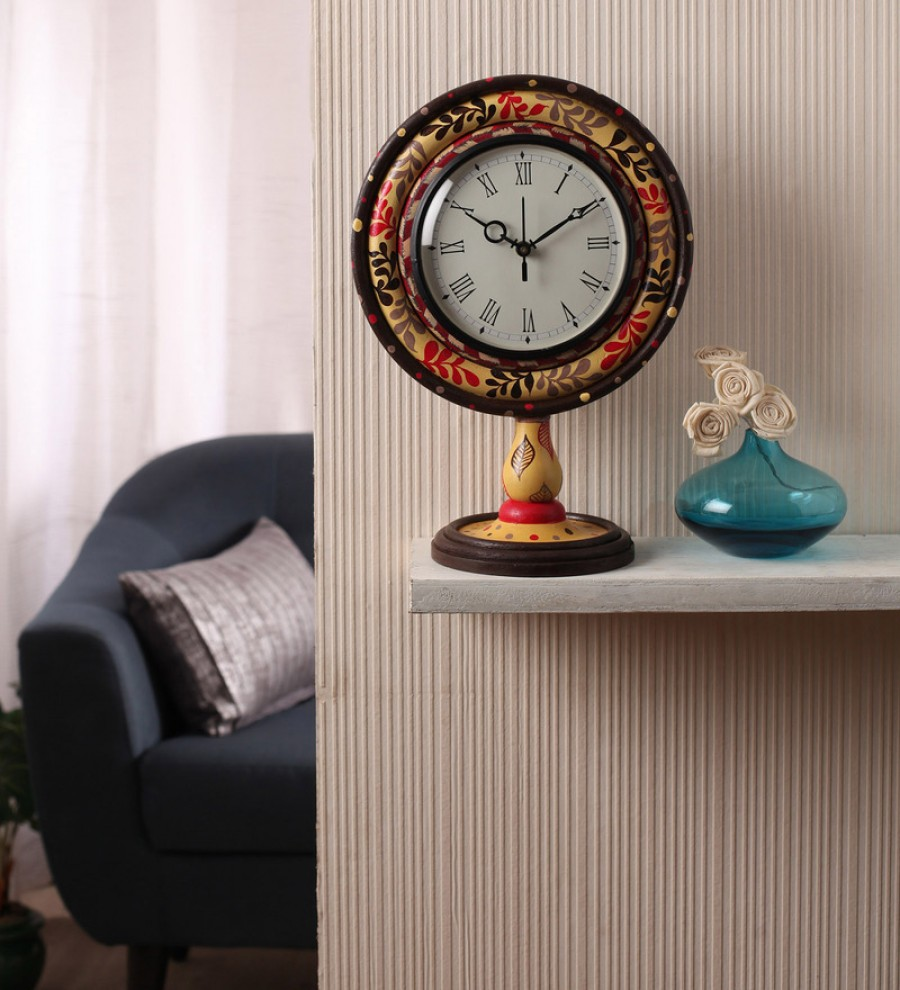 Buy Rang Rage Multicolour Mango Wood 10 x 6 x 14 Inch Classic Floral Ikat Hand Painted Table Clock Online