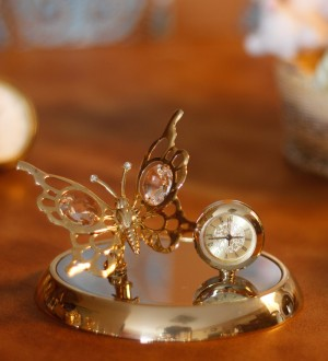 Buy G N G 24K Gold Plated with Swarovski Crystals Butterfly with Clock Showpiece Online