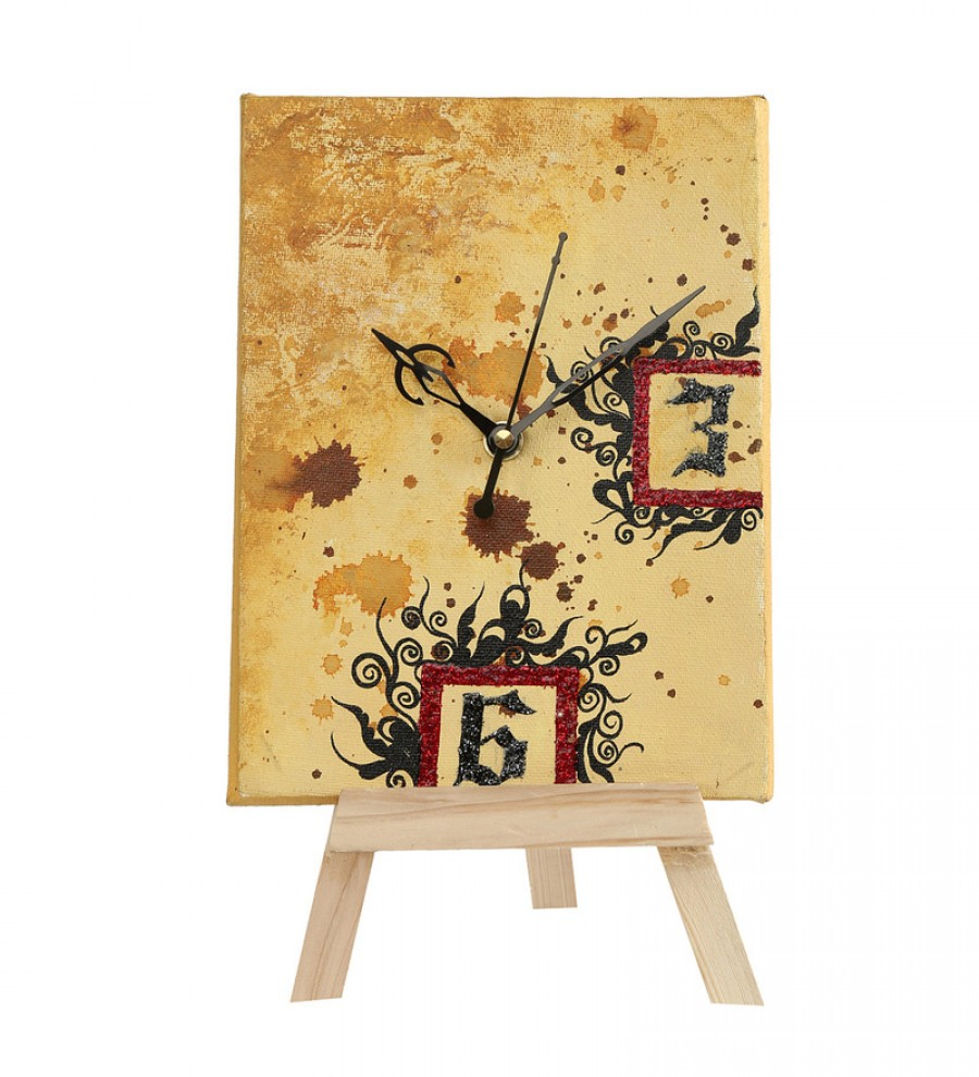 Buy Rang Rage Multicolor Wooden Art Journal Table Clock Online