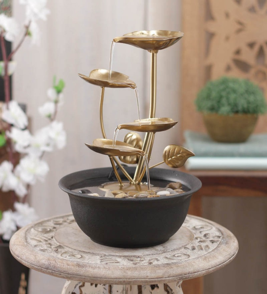 Buy  Importwala Brown & Gold Metal 4 Leaf Without Led Fountain Online