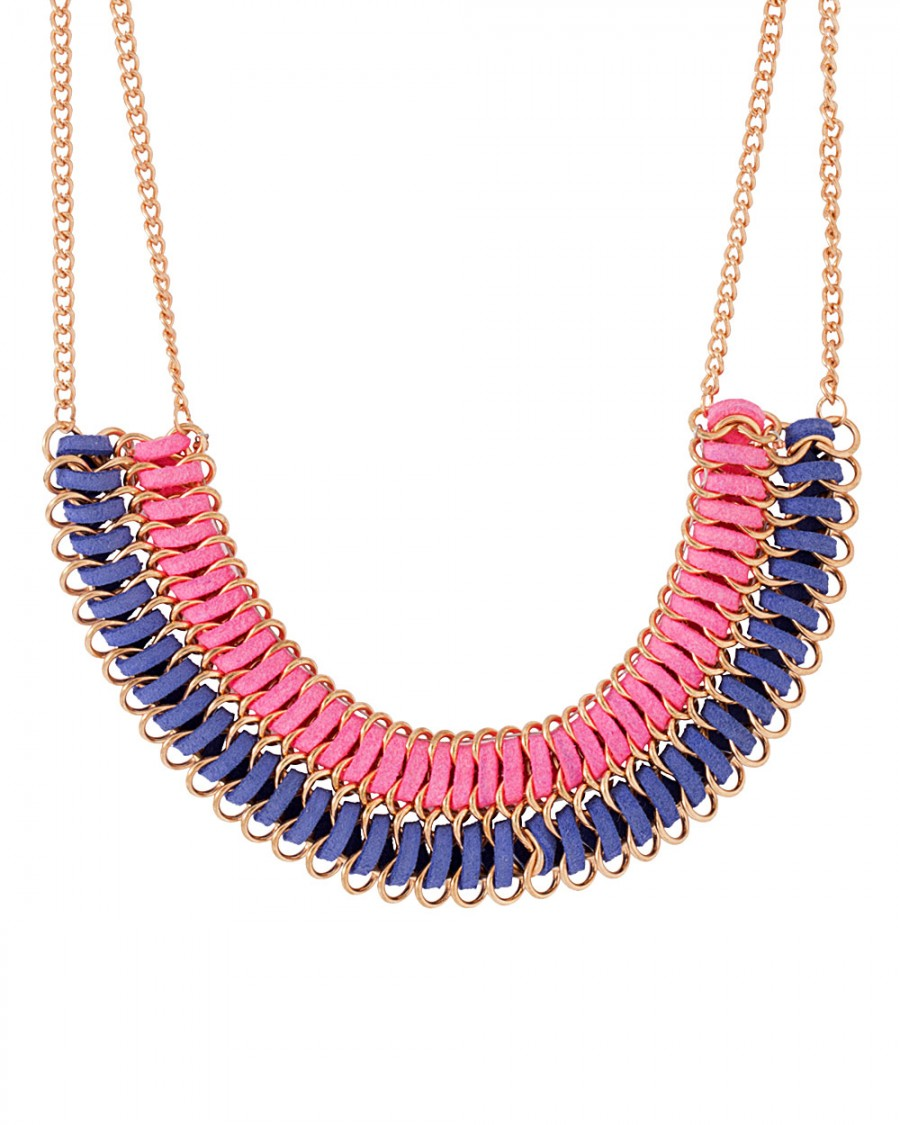 Buy PINK-BLUE BEADED STATEMENT NECKLACE Online