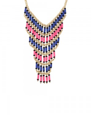 Buy GOLD TONE STATEMENT NECKLACE ADORNED CENTRALLY WITH MULTICOLOURED BEADS Online