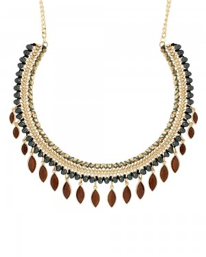 Buy GOLD TONE STATEMENT NECKPIECE WITH LEAFY MOTIFS DANGLING Online