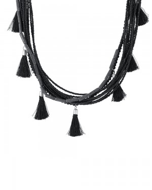 Buy LAYERED BLACK BEADED NECKLACE WITH DELICATE BLACK THREAD TASSELS  Online