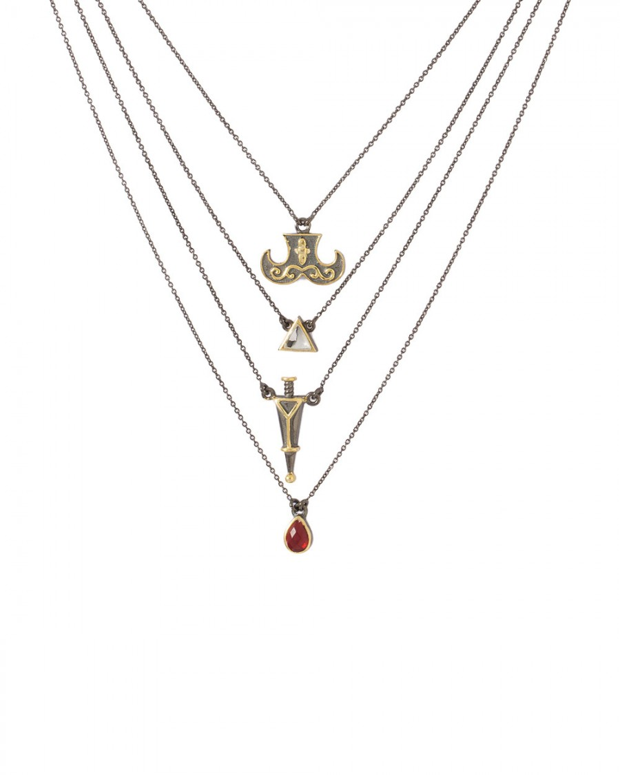 Buy RED STONE DECKED LAYERED NECKLACE WITH TRIANGULAR DROP DESIGN  Online