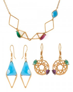 Buy COMBO OF 1 NECKLACE 4 EARRINGS  Online