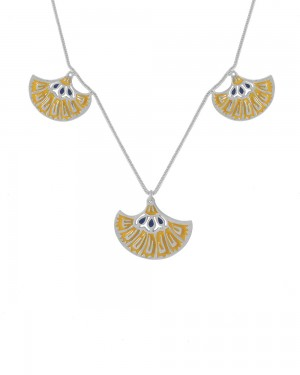 Buy SILVERY STRAND NECKLACE WITH TWIN TONE ENAMEL WORK Online