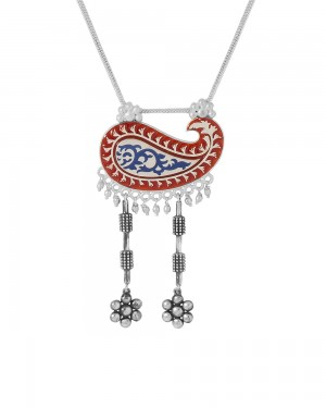 Buy PAISLEY STYLE NECKLACE WITH SILVER TONE ENAMEL WORK Online