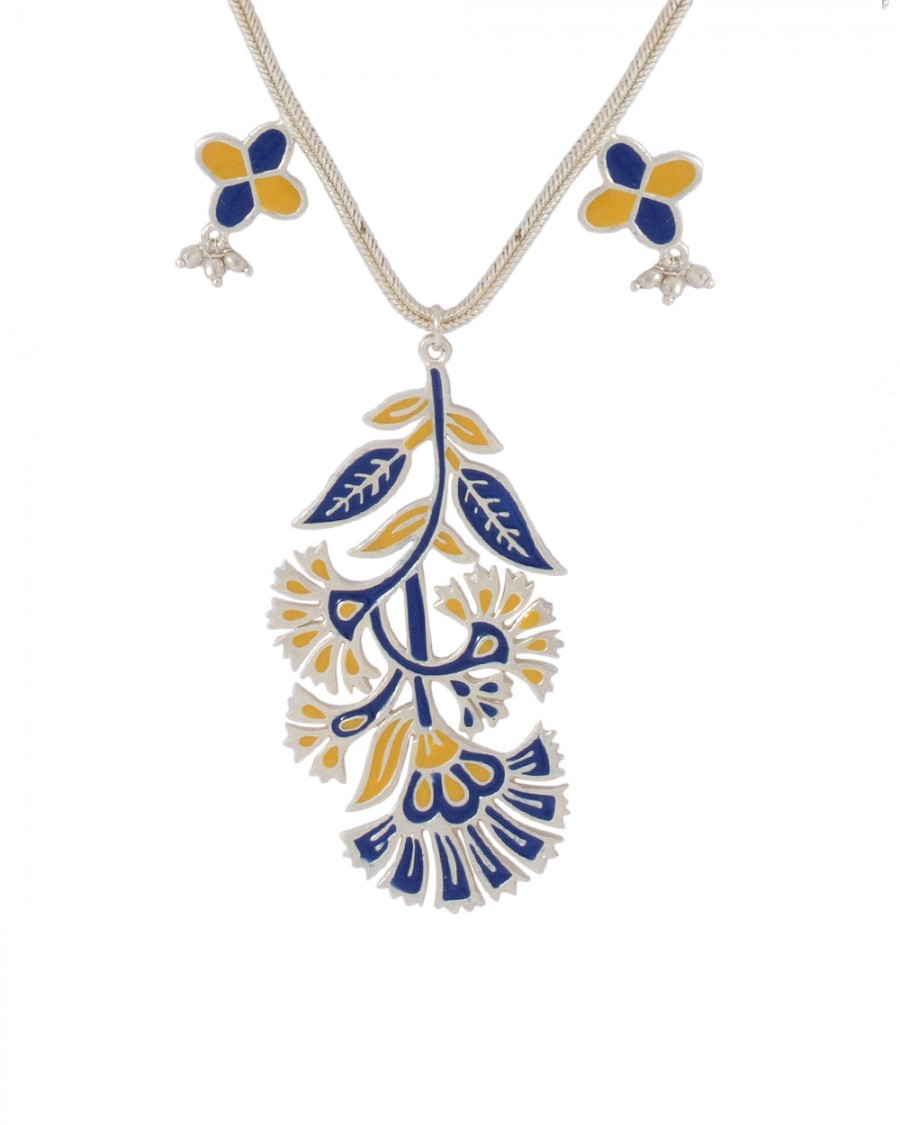 Buy FLORAL-LEAF SILVERY NECKLACE WITH DUAL TONE ENAMEL WORK Online