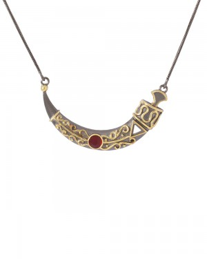 Buy RED STONE ADORNED GEOMETRIC MOTIF NECKLACE Online