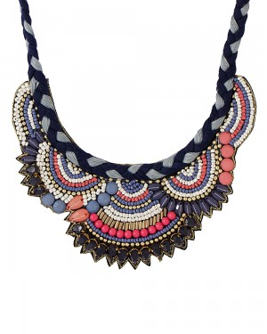 Buy THREAD AND VELVET NECKLACE ADORNED WITH MULTICOLORED BEADS Online