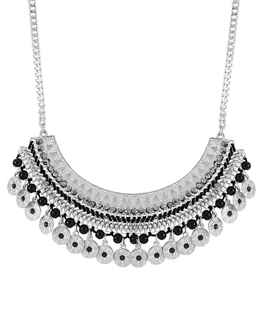 Buy CLASSY SILVER TONE BLACK BEADS ADORNED NECKLACE Online